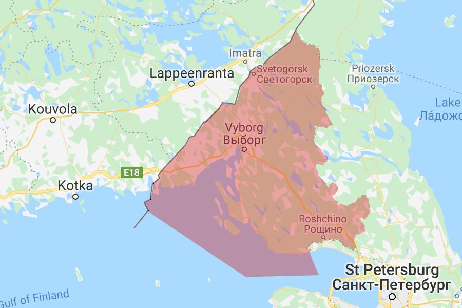 Самые чистые районы Ленобласти. Карта Выборгского района